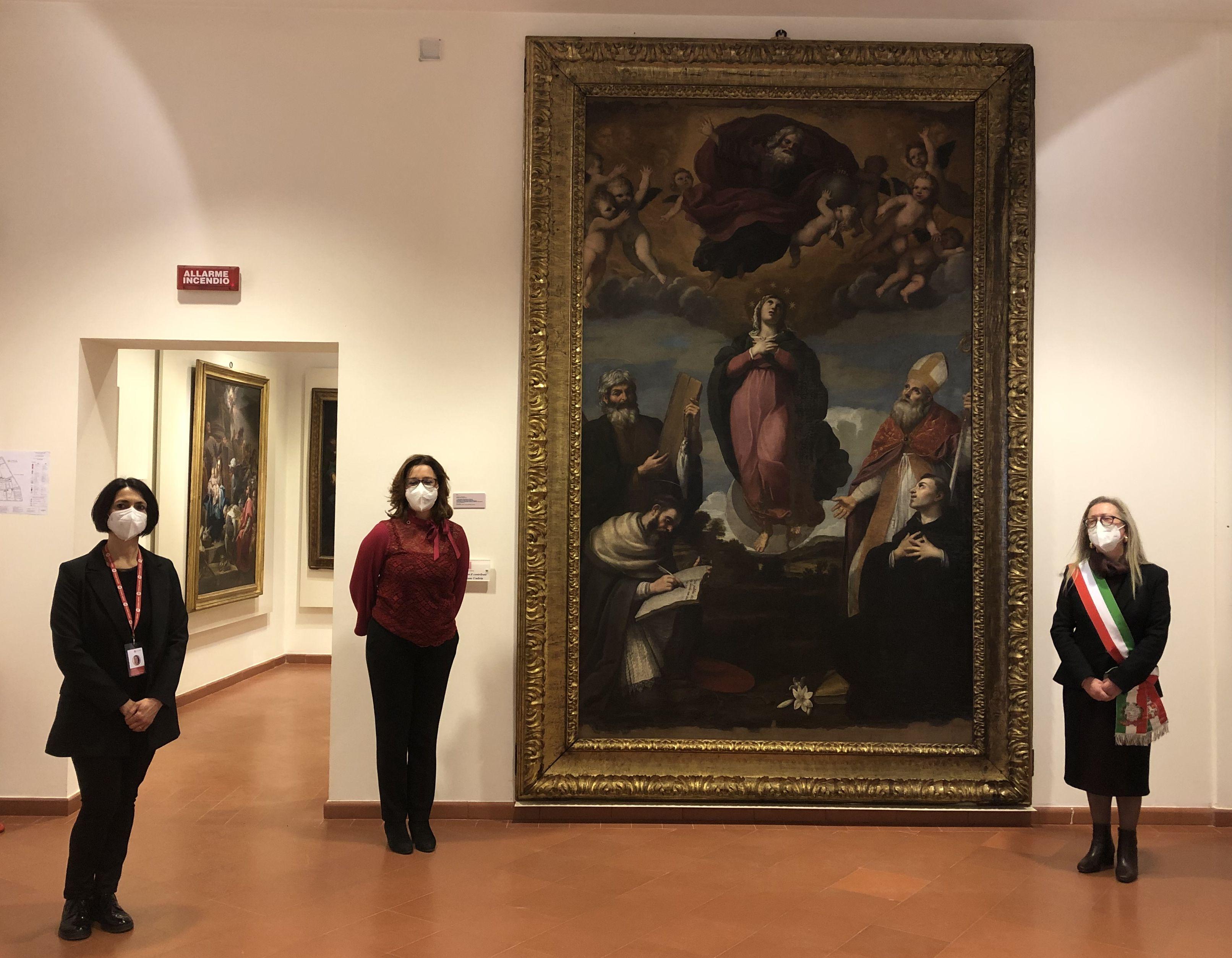 Bevagna, presentato il restauro dell'importante Immacolata Concezione di Andrea Camassei