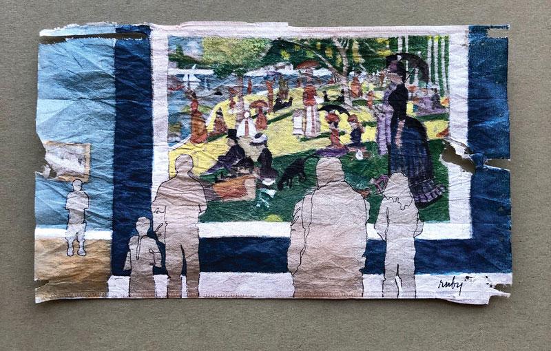 Artista realizza piccoli dipinti a olio su...bustine da tè
