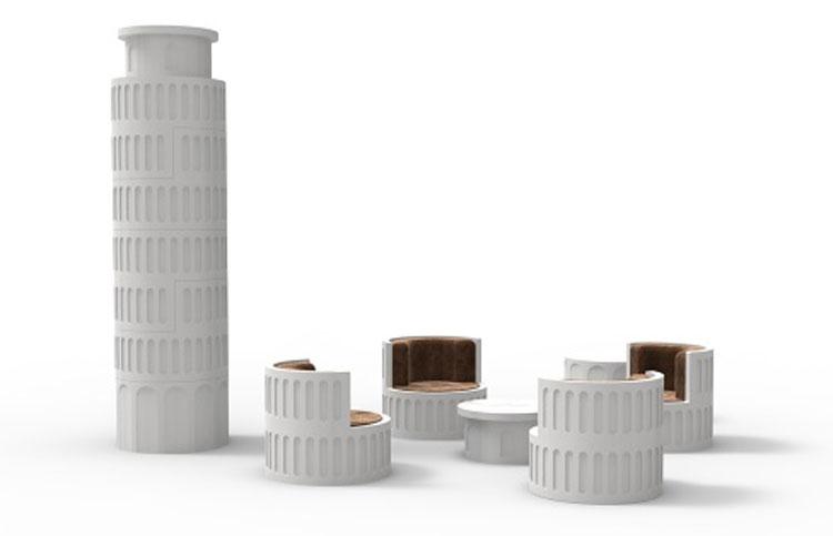 Pluripremiato designer crea set d'arredamento da salotto ispirato alla Torre di Pisa