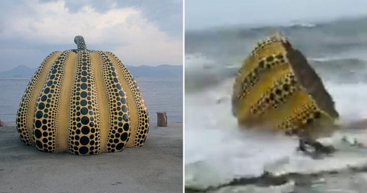 Giappone, danneggiata da un tifone la gigantesca zucca di Yayoi Kusama sul molo di Naoshima
